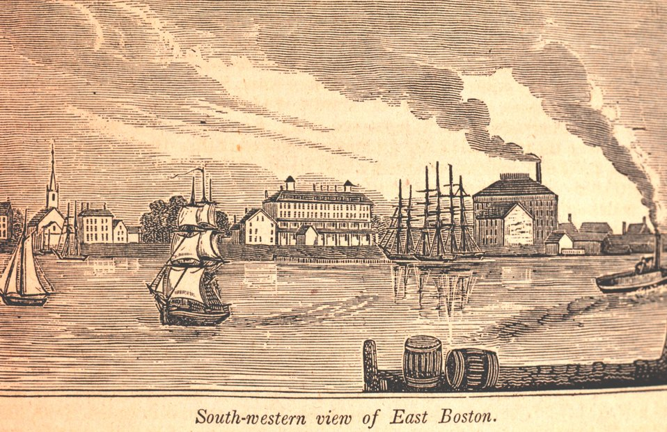 A southwestern view of East Boston as seen from Lewis's Wharf, East Boston ferryway.  East Boston was formerly known as Noddle's Island.  The Maverick Hotel, named for Samuel Maverick a 17th Century colonist, is the large building in the center. In: Hi