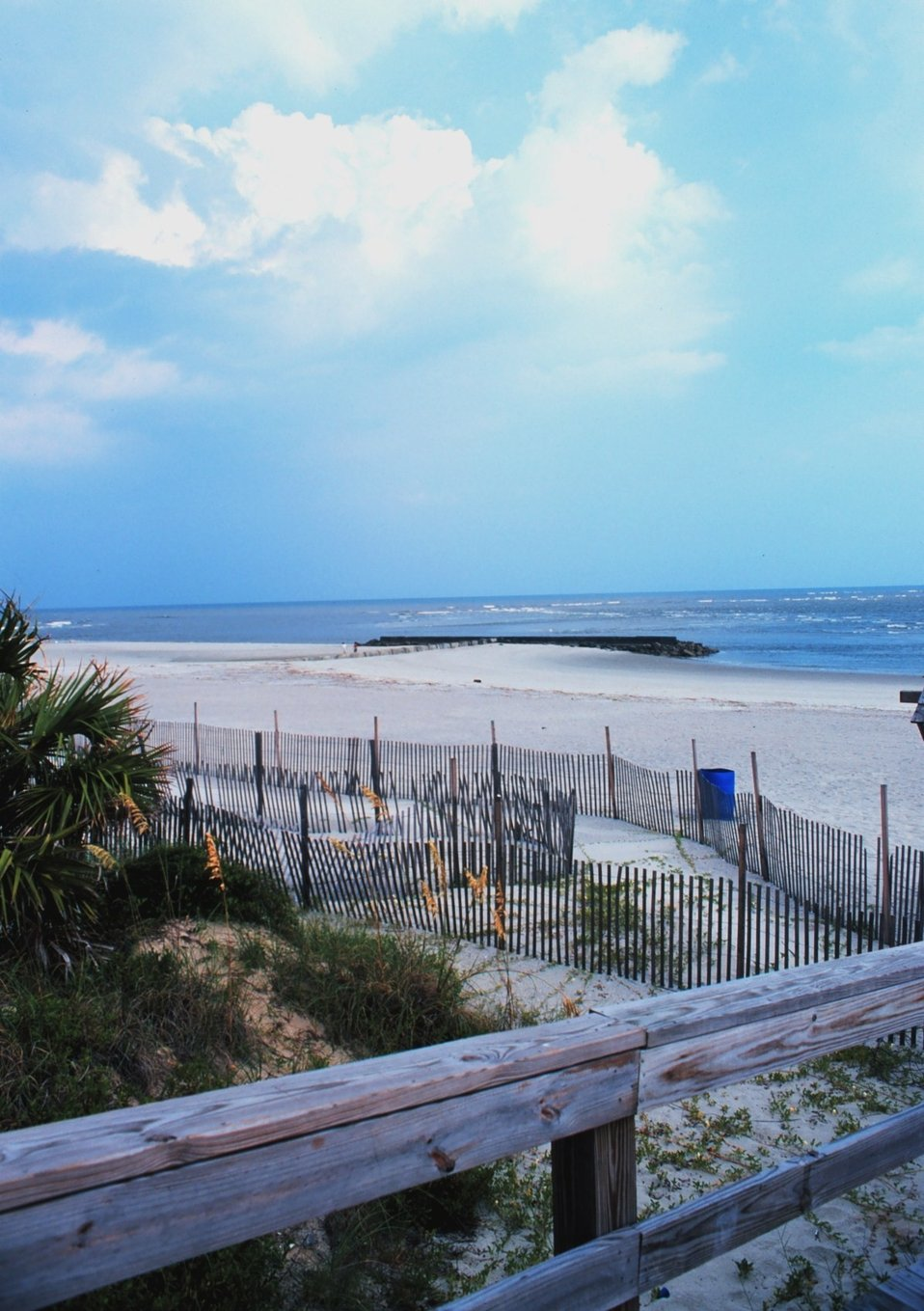 The beach at Tybee Island.  Fences help reduce erosion.