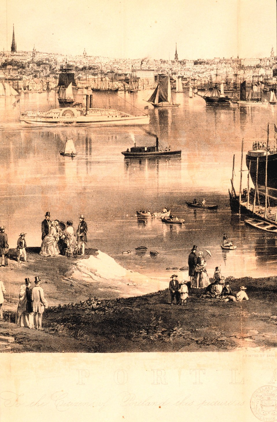 Center -left quarter detail of engraving of Portland Harbor