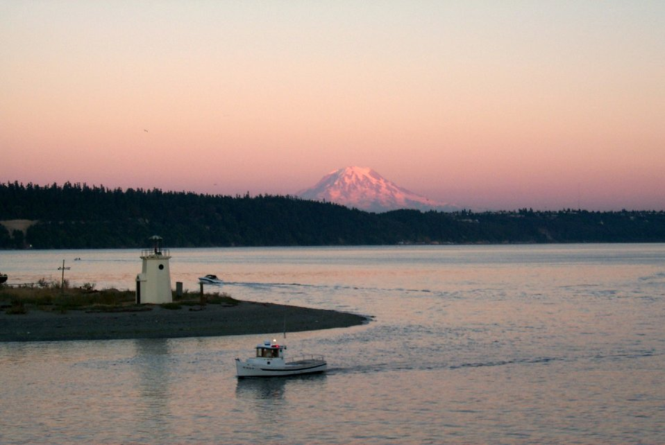 View of Mount Rainier at sunset from Gig Harbor.