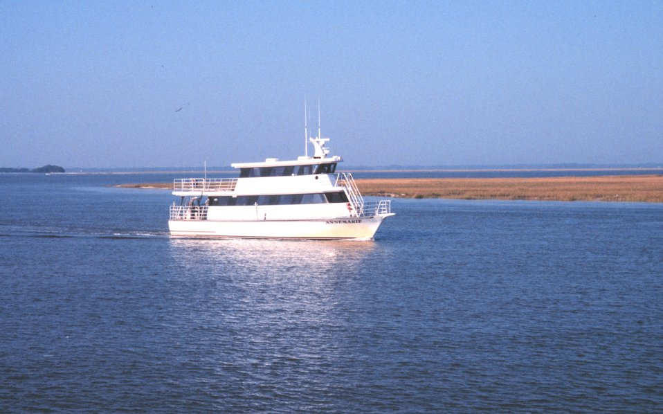 The ferry boat 'Anne Marie', named for the wife of tobacco magnate R. J. Reynolds.  This vessel makes the 5-mile trip 3-4 times daily from the mainland to Marsh Landing Dock on Sapelo Island.