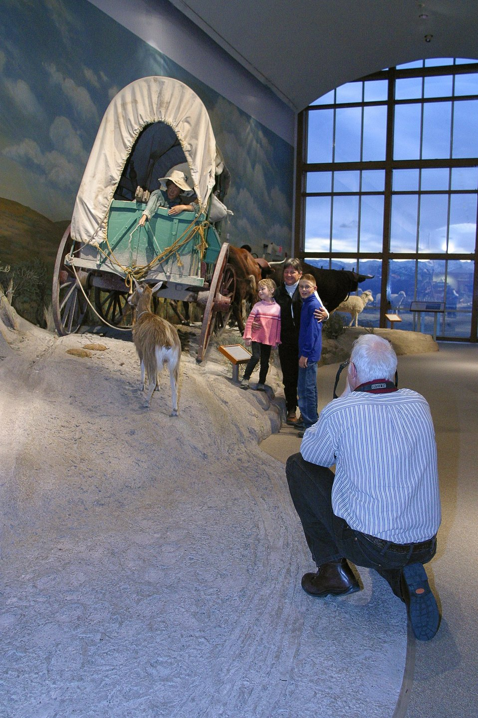 The main Gallery at the National Historic Oregon Trail Enterpretive Center depicts life size scenes along the Oregon Trail.