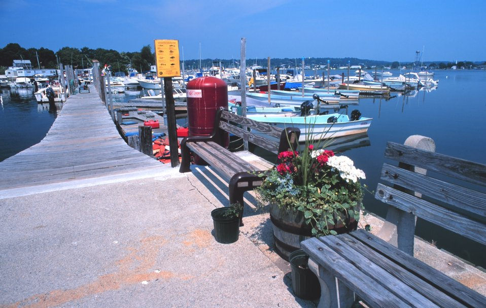 Small recreational fishing boats for rent at Mystic Harbor