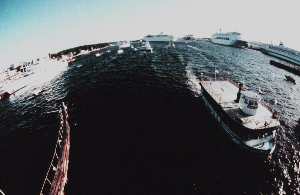 A fisheye view of the cruise ship port at Port Everglades