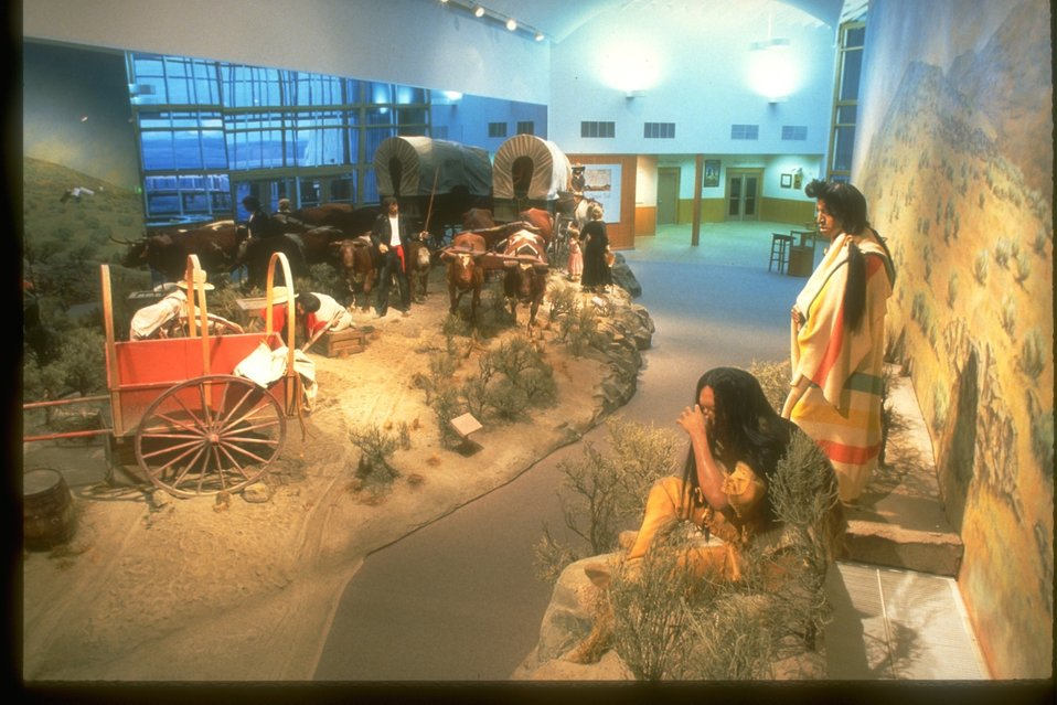 NHOTIC gallery with a replica of the Oregon Trail and its early settlers, travelers and Native Americans.