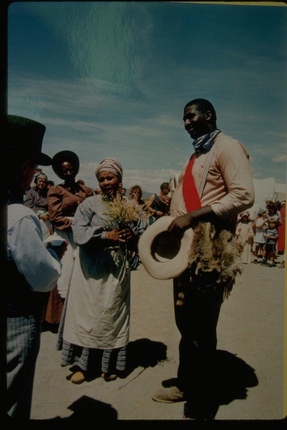 A wagon train wedding at the Pioneer Festival (NHOTIC).