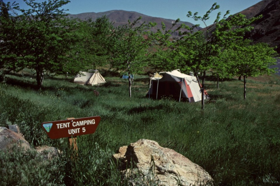 Spring Recreation site tent camping units on the BLM Vale District in eastern Oregon.