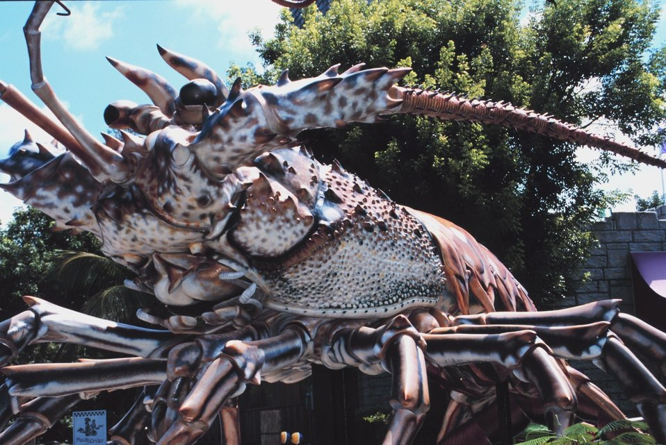 A giant spiny lobster is an attraction at Treasure Village