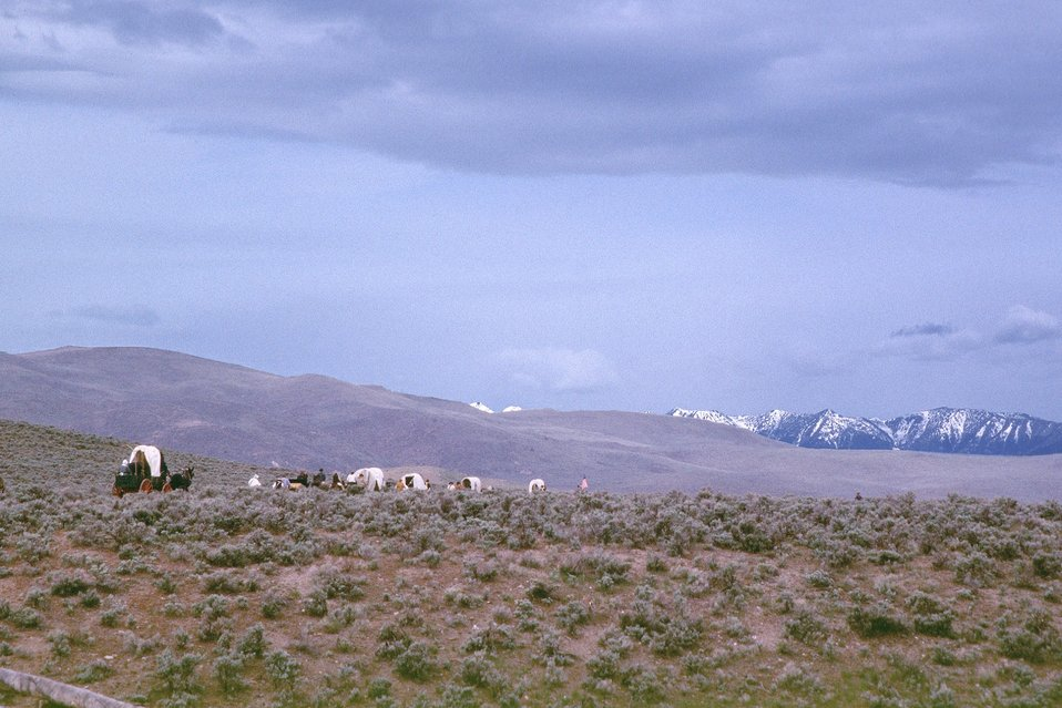 NHOTIC 10th Anniversary, wagon train reenactment. Covered wagons on the Oregon Trail, mountains in background.