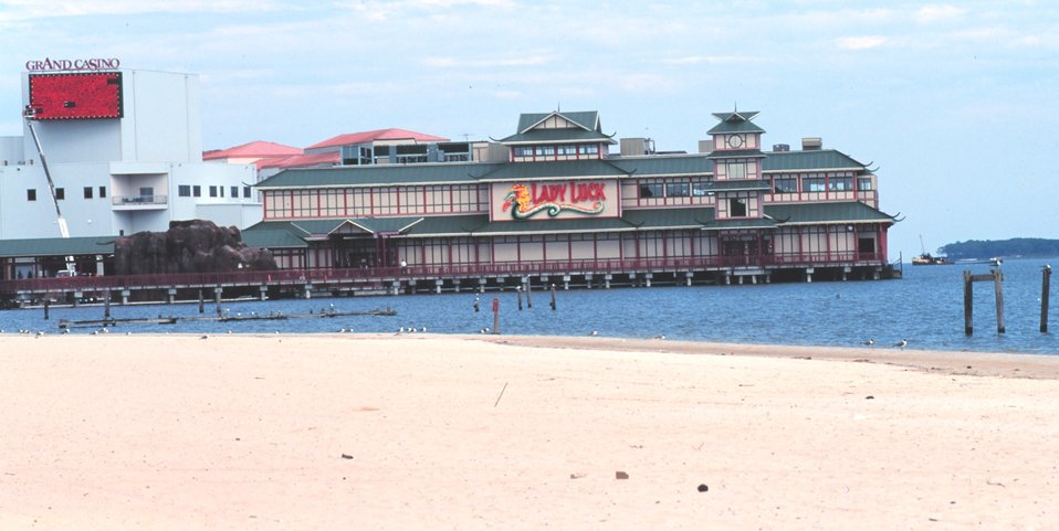 Gambling casinos have been built along the beach at Biloxi