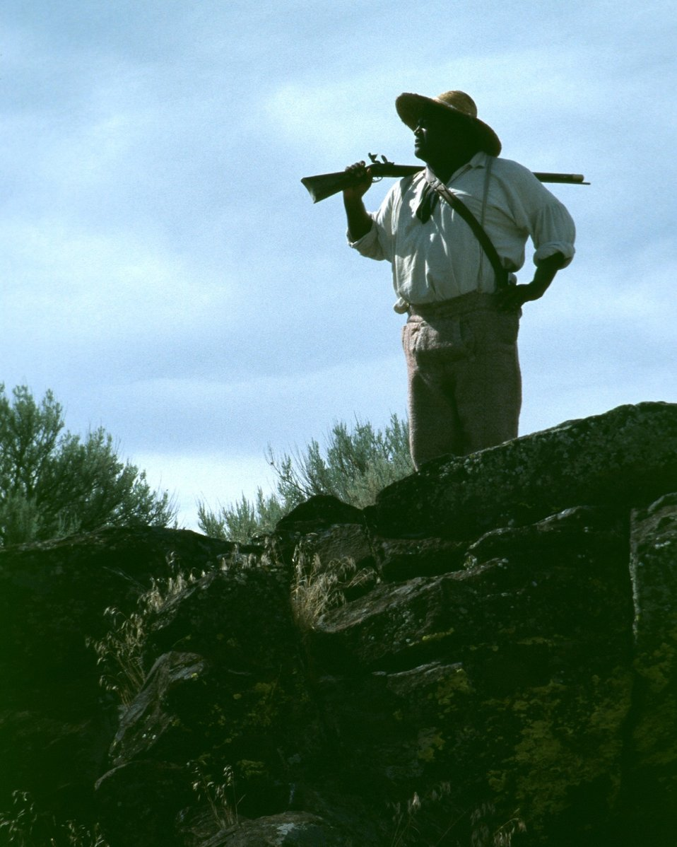 Dylan Prichertt portrays a black pioneer scout.