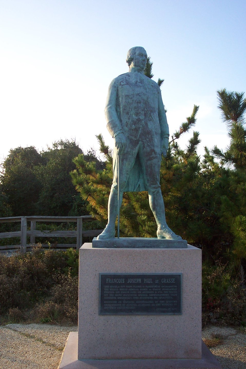 Statue of Admiral Francois Joseph Paul de Grasse, admiral of the French fleet that trapped the British Army at Yorktown in 1781, effectively ending the  American Revolution with the defeat of Cornwallis.