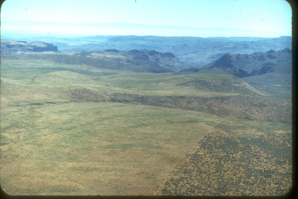 An arial view of the rangeland.  Also, there is a sharp division from the land that is range seeded and where the sage brush starts.