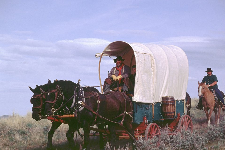 NHOTIC 10th Anniversary, wagon train reenactment. Pioneers on the Oregon trail.