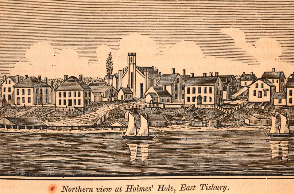 A northern view of Holmes' Hole, East Tisbury, on Martha's Vineyard. In: Historical Collections ... of Every Town in Massachusetts.  1841.