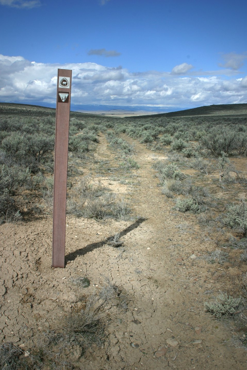 Oregon Trail ruts below the National Historic Oregon Trail Interpretive Center.
