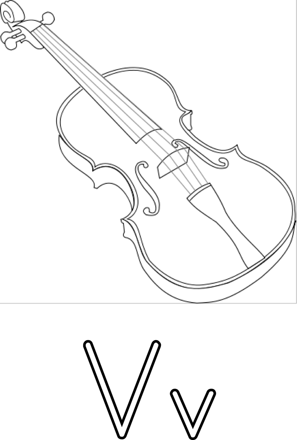 V for violin for coloring