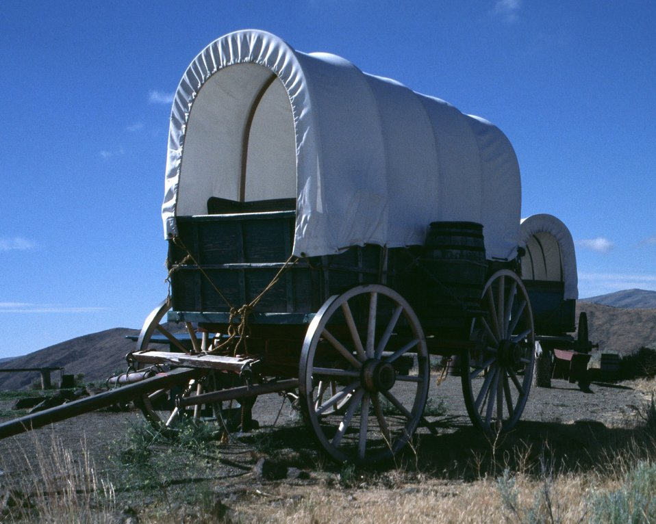 Covered wagons at NHOTIC encampment.