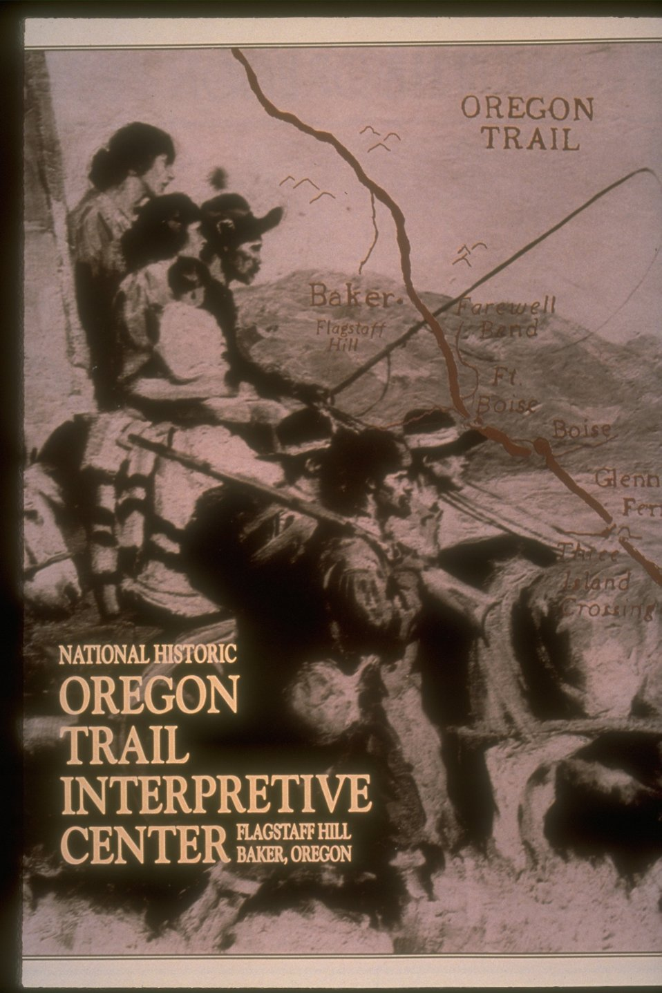 "Historic brochure on display at the NHOTIC reading: ""National Historical Oregon Trail Interpretive Center.  Flagstaff Hill.  Baker, Oregon."