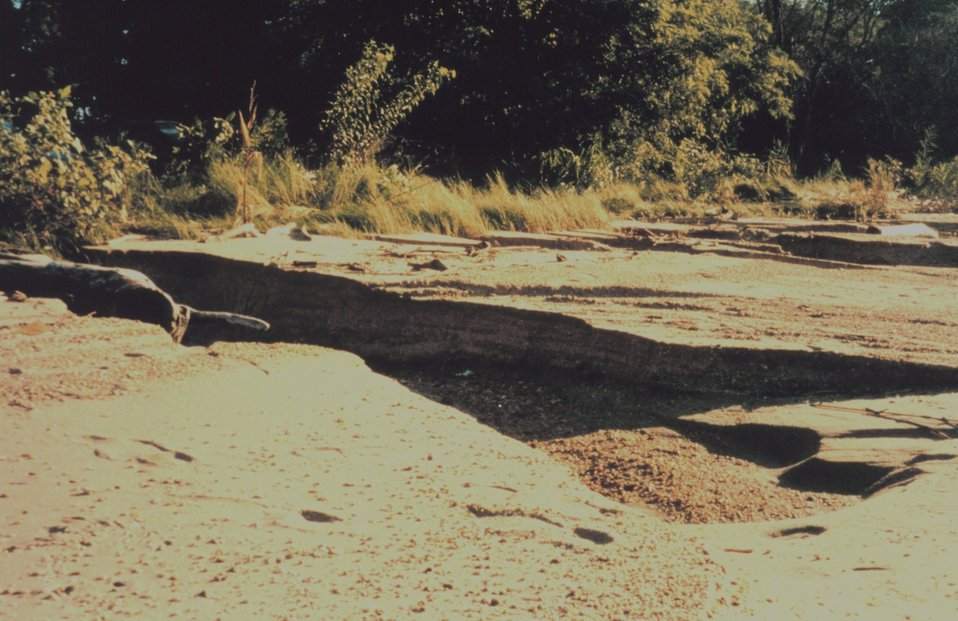 Erosion damage to a beach near Baltimore as a result of Hurricane Floyd.