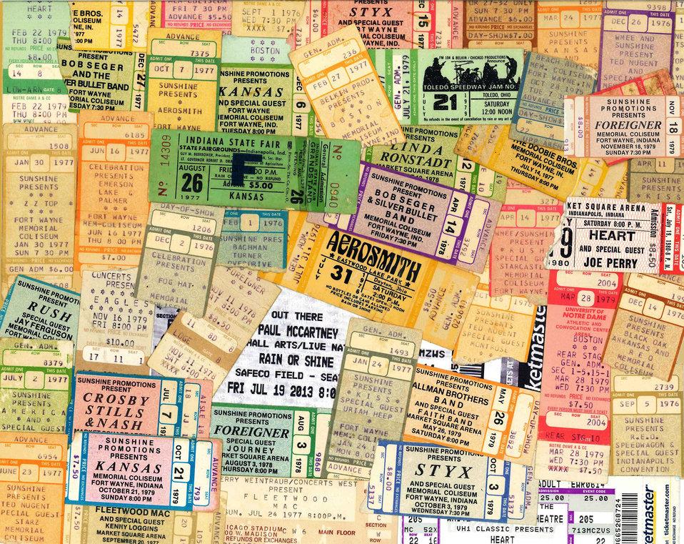 Background concert ticket stubs