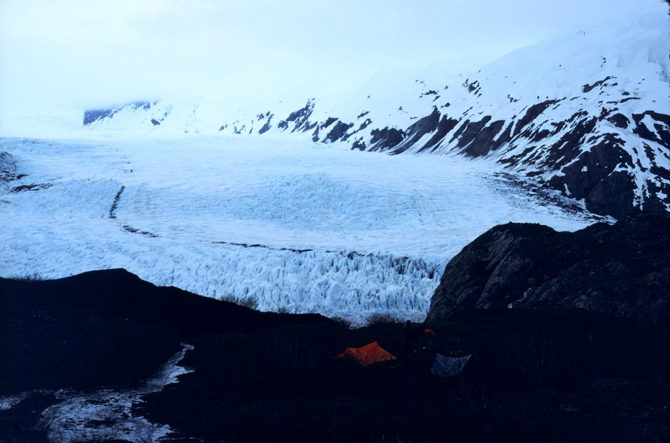 Portage Glacier area.  Note tent for camping.