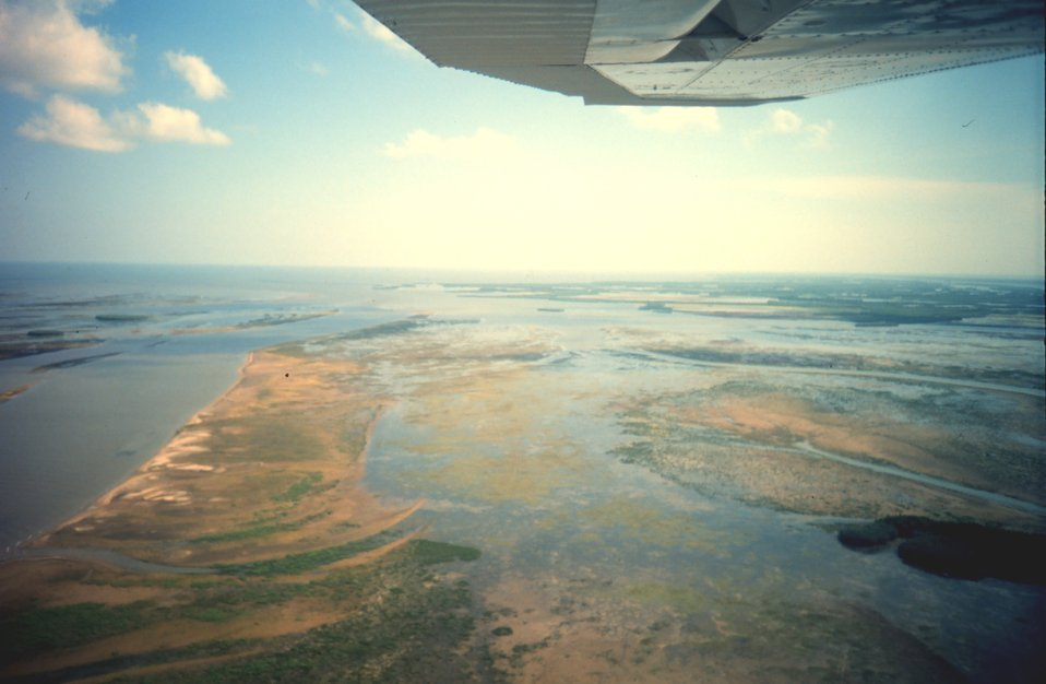 Aerial view of Mississippi Delta wetlands adjacent to Pass a Loutre