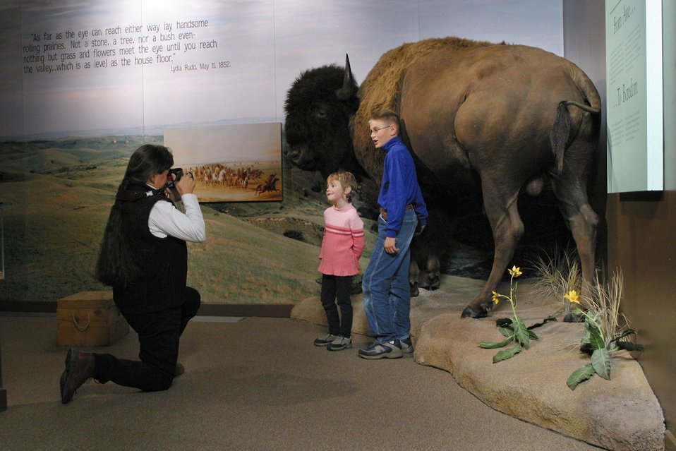 Bison once roamed the plains in great numbers. Visitors learn about the role of Bison and how they helped pioneers along the Oegon Trail.