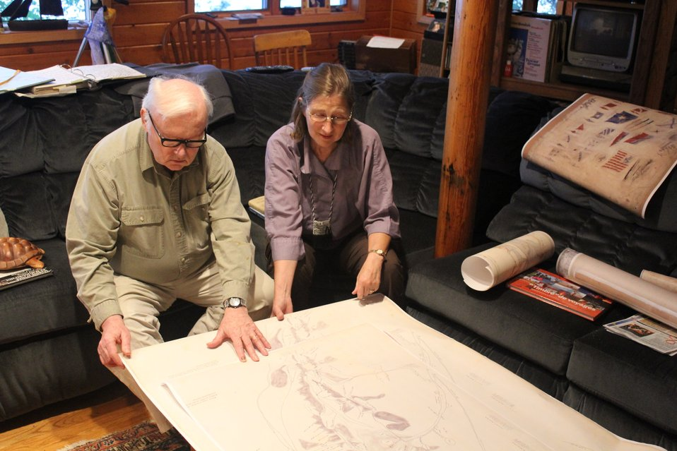 Kathy and William Ruddy, noted Alaskan historians, ethnographers, and legal authorities, examining the Kohklux map brought by Dr. John Cloud to Alaska for use by scholars and native corporations.  This was made possible through a grant from NOAA's Prese