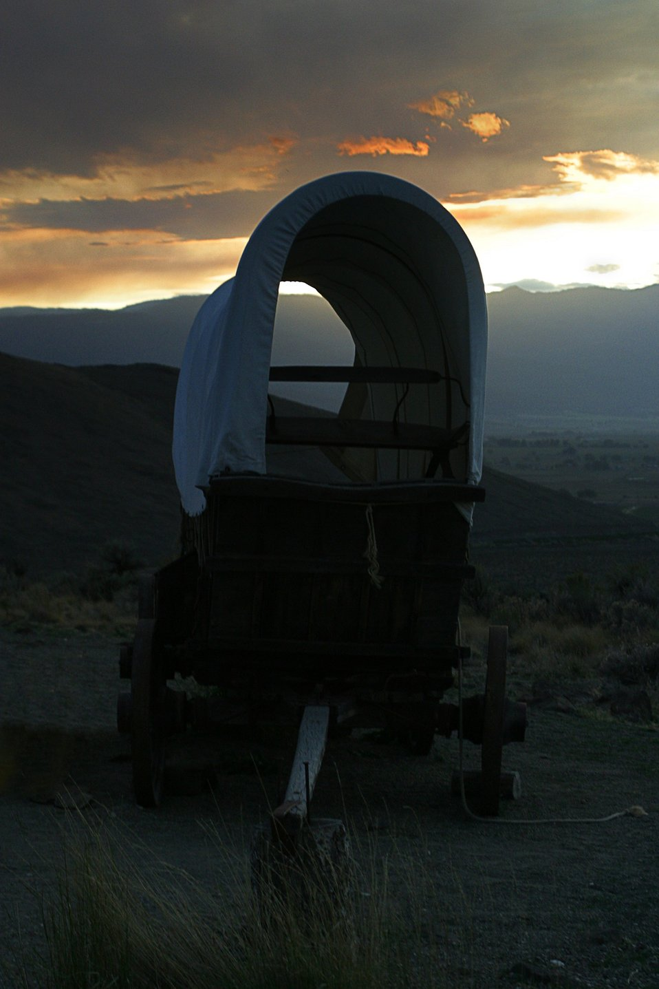 October sunset on wagon encampment at National Historic Oregon Trail Interpretive Center.