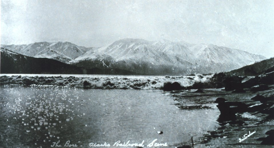 The tidal bore in Turnagain Inlet.