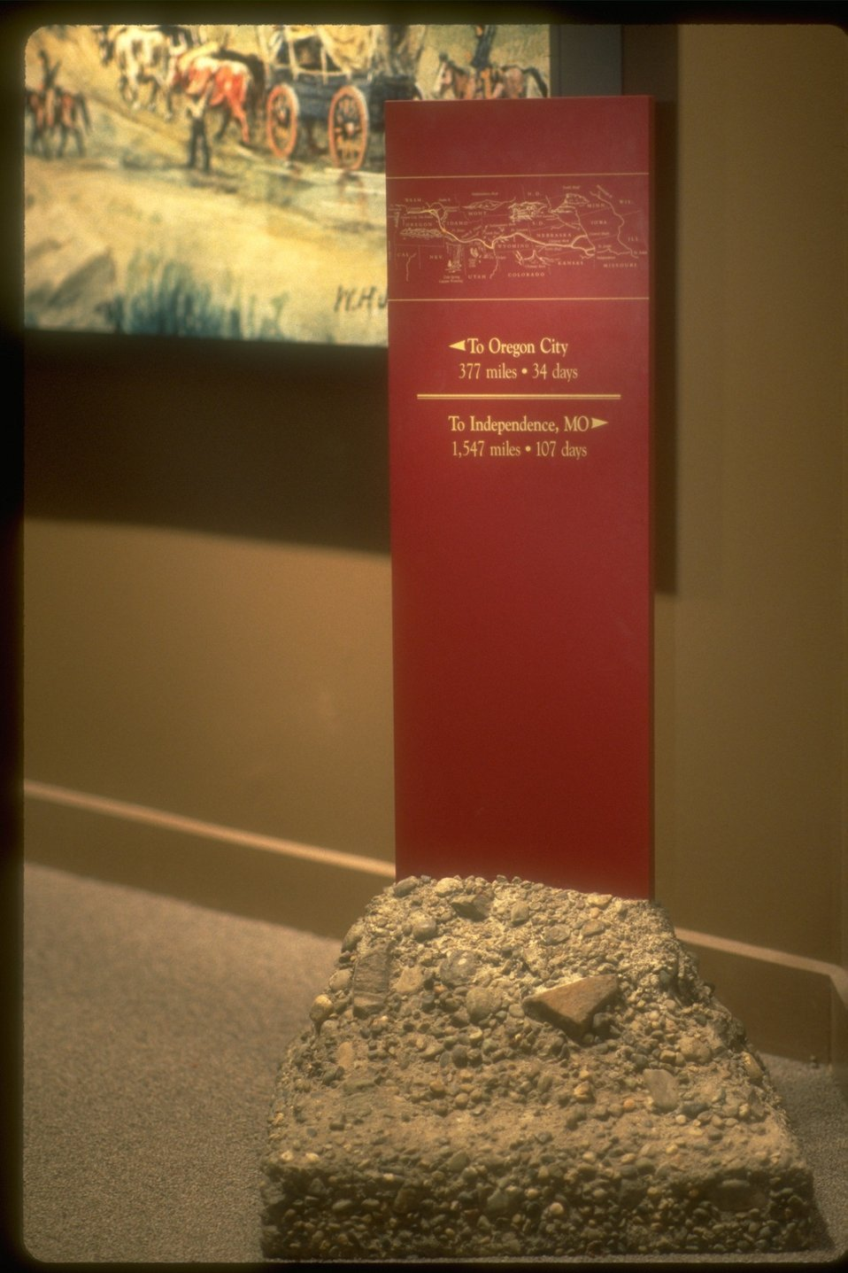 Mile post marker on display at the NHOTIC.