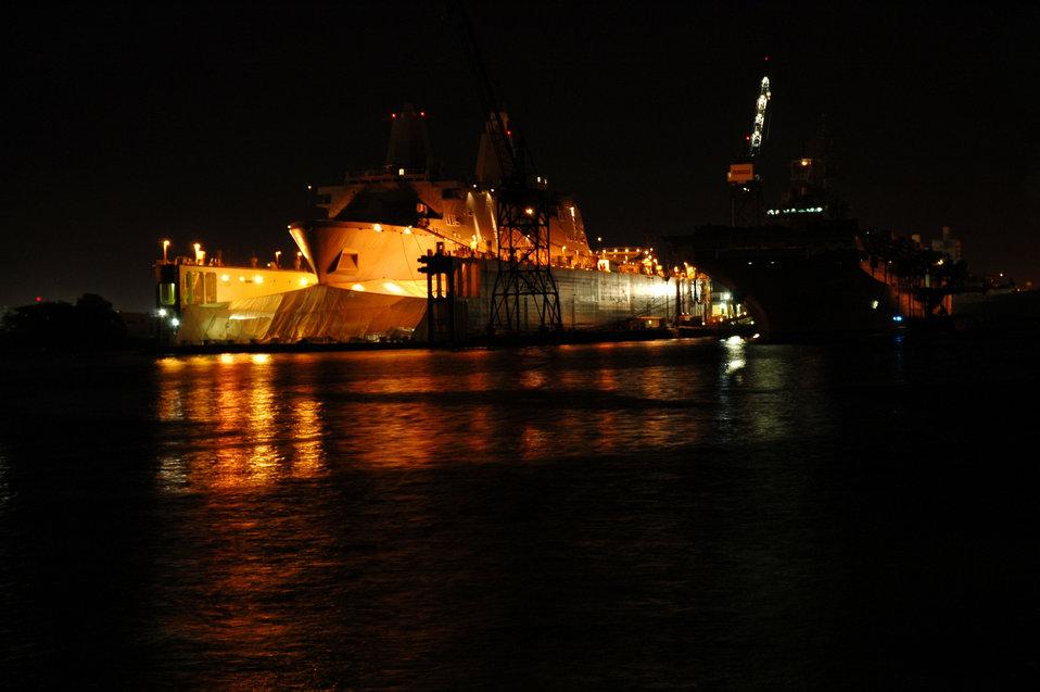 A Norfolk area shipyard seen at night.