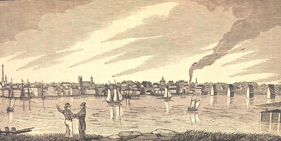 Newburyport as seen from the northern bank of the Merrimac River.  The bridge to  the right is a chain suspension bridge. In: Historical Collections ... of Every Town in Massachusetts.  1841.