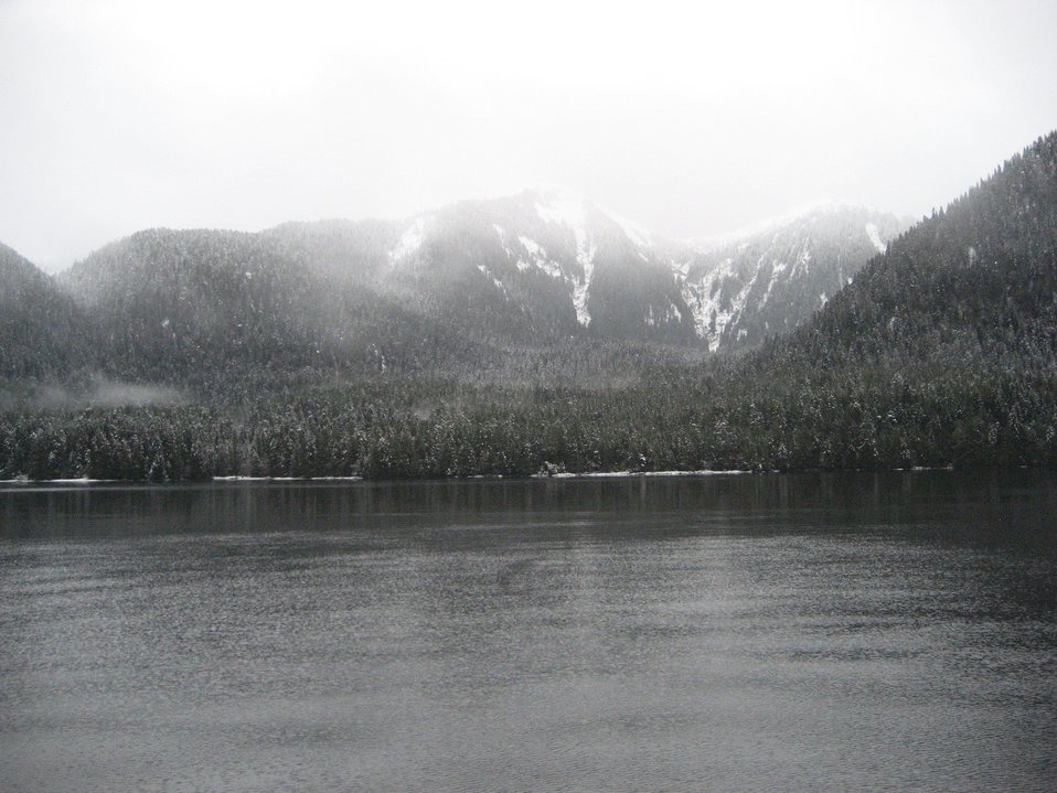 Icy Strait area.  A sprinkling of snow.