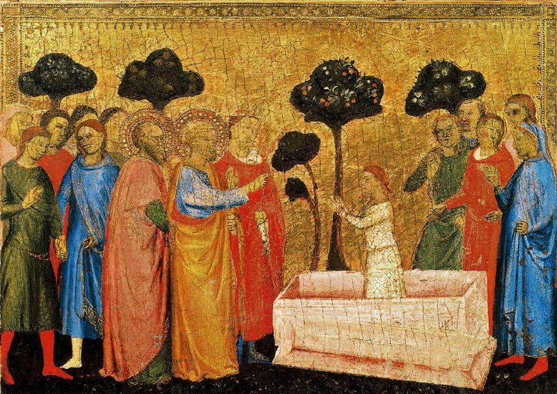 16 Jacopo di Cione Polyptych San Pier Maggiore, detail of predella. 1370-71 Pinacoteca Vaticana.jpg