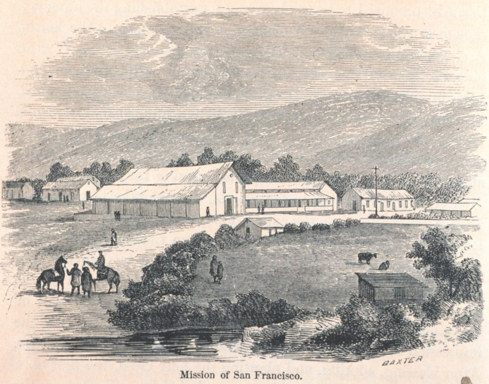 View of the Mission Dolores at San Francisco. In: 'The Annals of San Francisco'.  Frank Soule, John Gihon, and James Nesbit.  1855.  Page 48.  D. Appleton & Company, New York.  F869.S3.S7 1855.