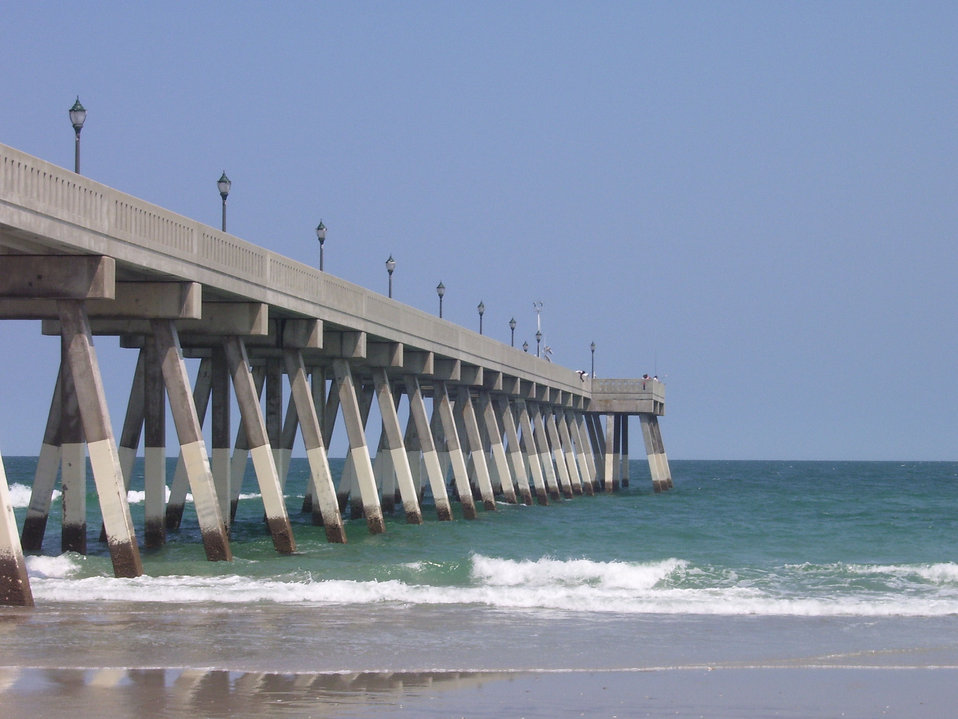 Johnie Mercer's Fishing Pier, a concrete structure, has replaced an older wooden  pier that was destroyed in a hurricane.