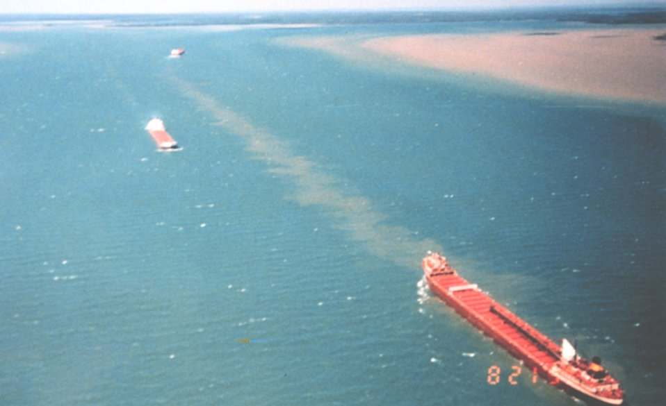 Great Lakes ore carrier in lower right at Sault Ste. Marie
