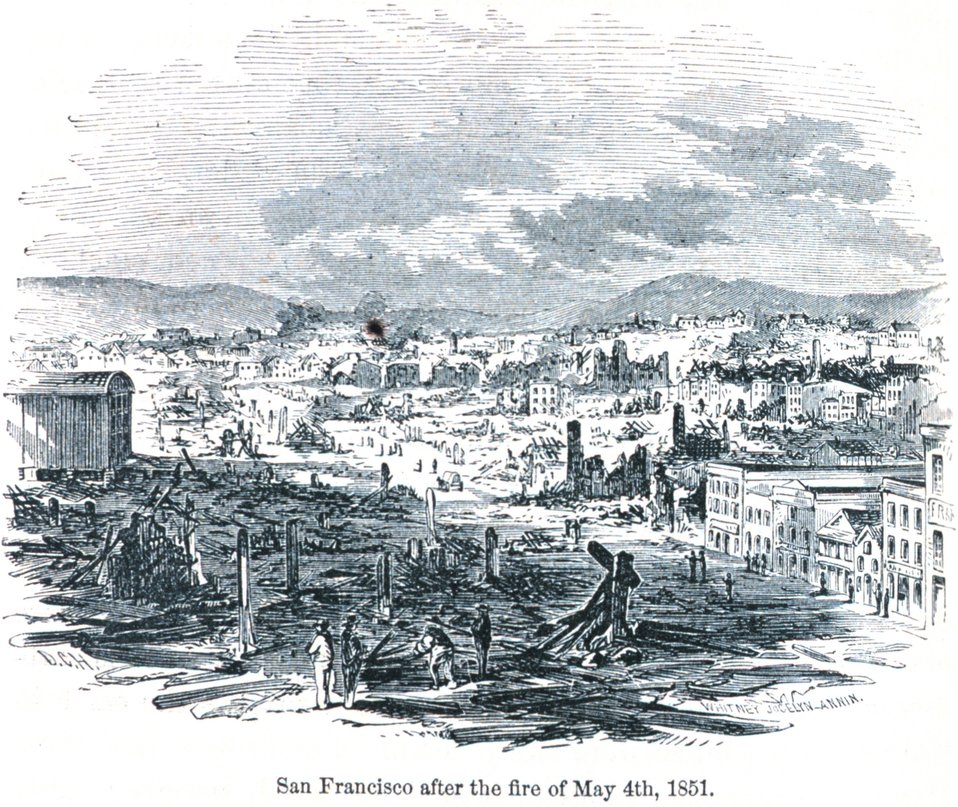 San Francisco after the fire of May 4th, 1850. In: 'The Annals of San Francisco'.  Frank Soule, John Gihon, and James Nesbit.  1855.  Page 332.  D. Appleton & Company, New York.  F869.S3.S7 1855.