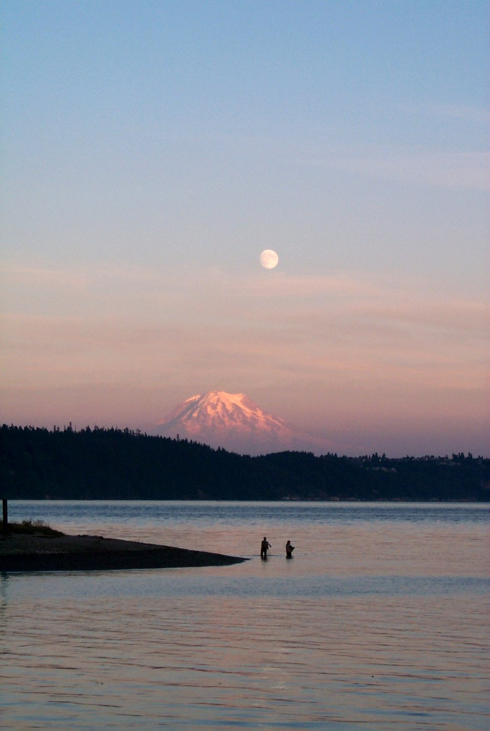 Fisherman's dream - sunset, moonrise, Mt. Rainier, and the salmon were running.