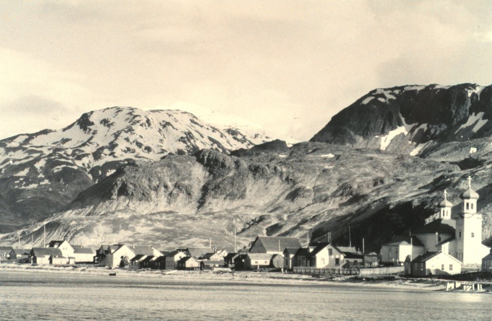 The villlage of Unalaska.  The picturesque Russian Orthodox Church on the right. F&WS B-50336.