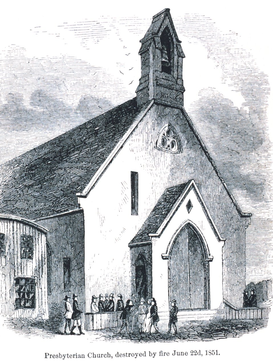 Presbyterian Church destroyed by fire on June 22nd, 1851. In: 'The Annals of San Francisco'.  Frank Soule, John Gihon, and James Nesbit.  1855.  Page 691.  D. Appleton & Company, New York.  F869.S3.S7 1855.