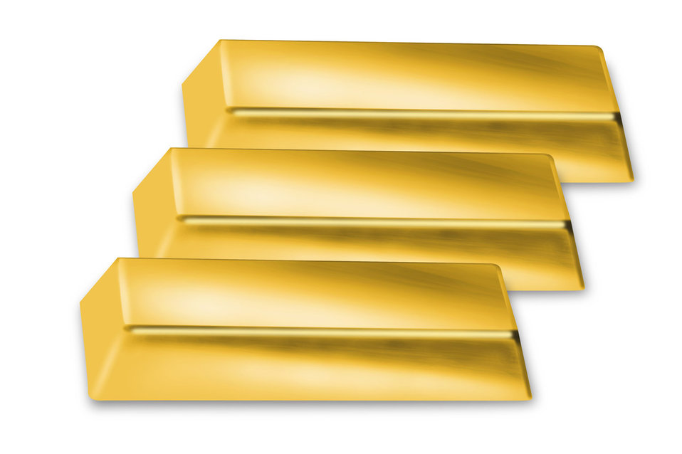 Three golden bricks