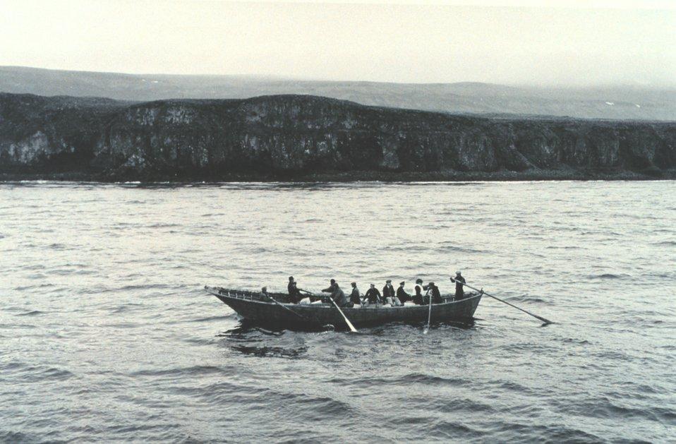 A bidarrah or large skin boat off St. George Island.  F&WS  10,030.