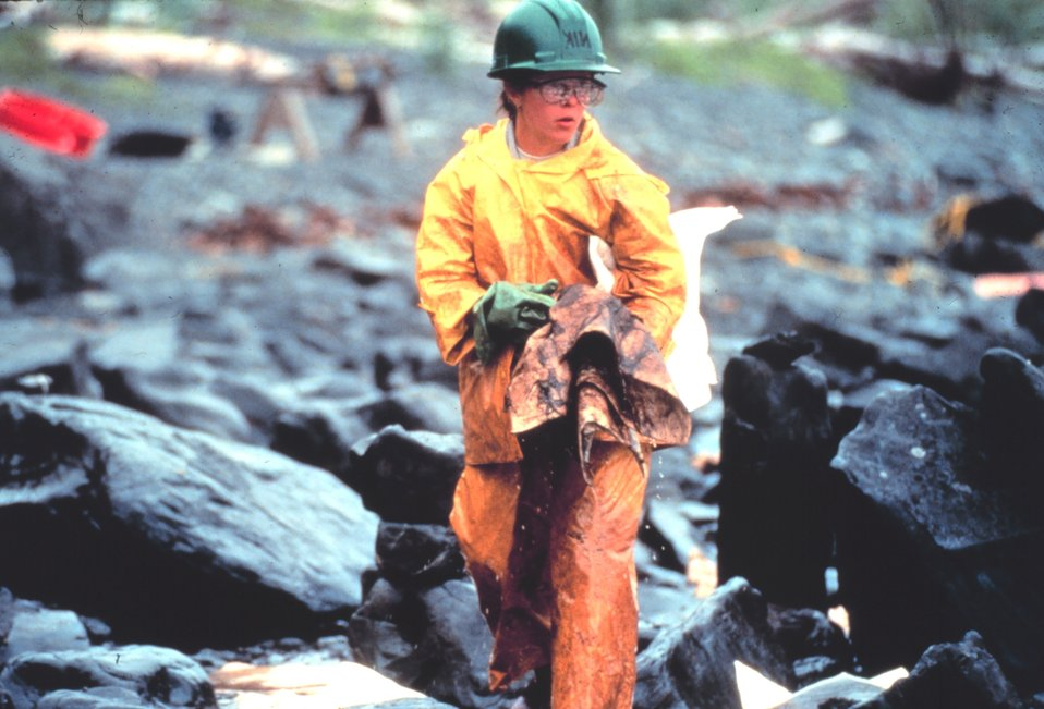 Worker in oiled intertidal zone