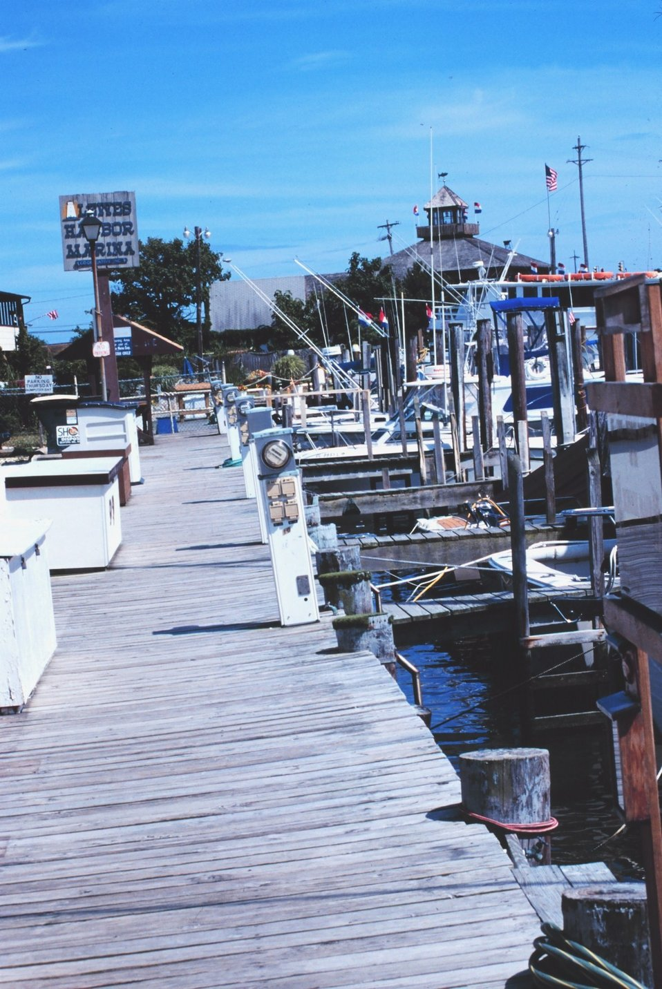 Recreational sport fishing boats at a pier in Lewes