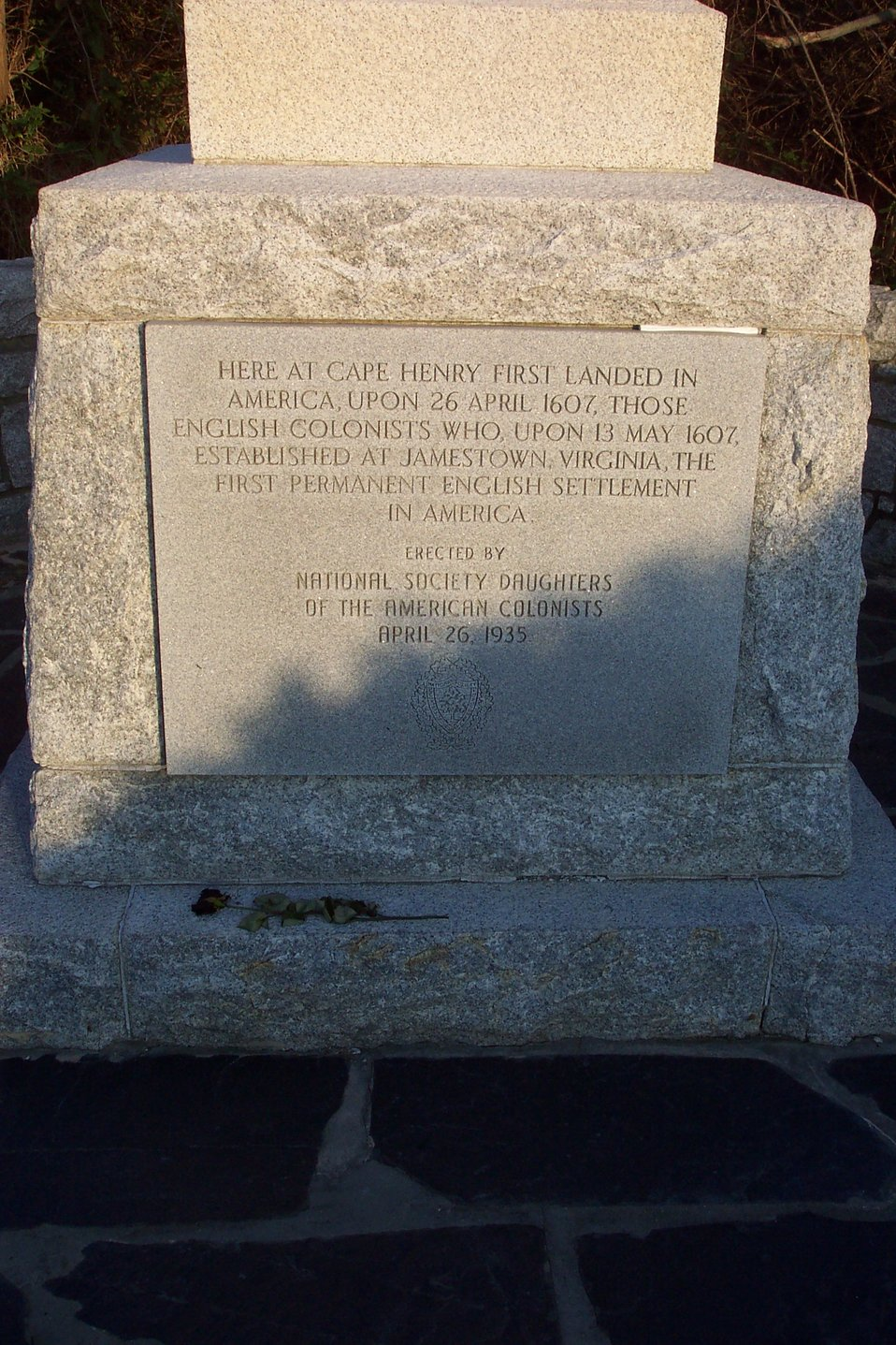 Close-up view of plaque commemorating first English colonists who landed at Cape Henry on April 26, 1607.