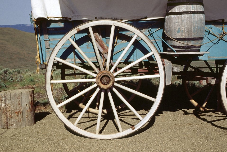 Wheel from covered wagon. NHOTIC 10th Anniversary.