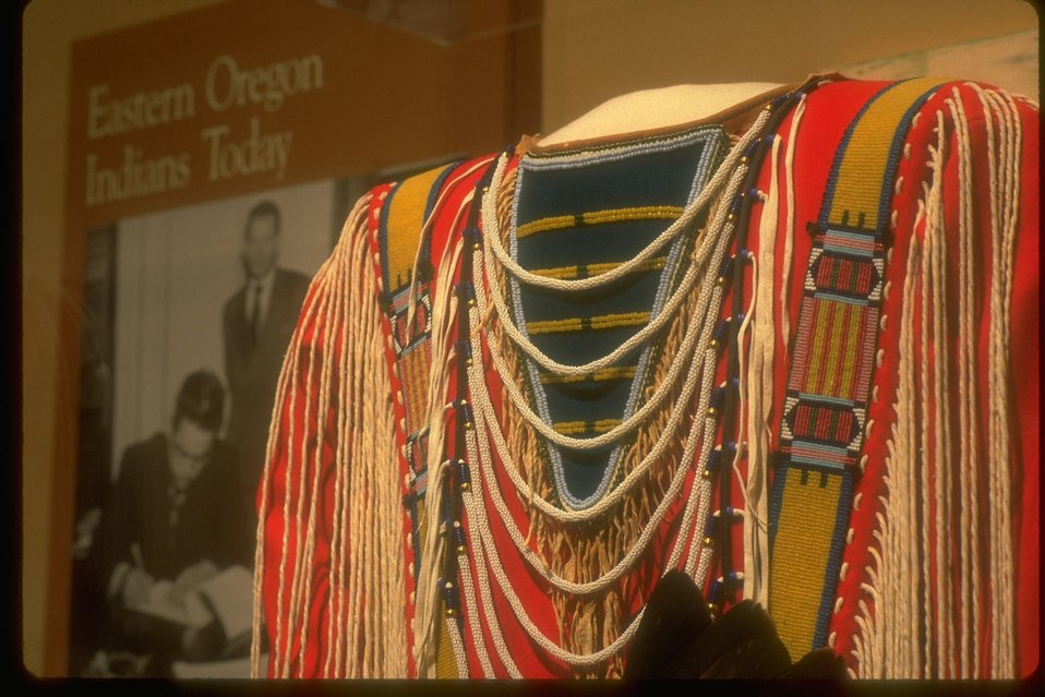 Detailed Native American clothing on display at the NHOTIC.